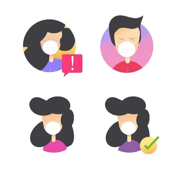 Visage masque médical sur les icônes de personnes définies