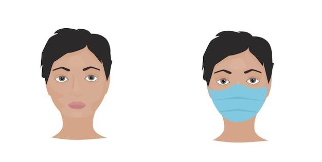 Visage avec masque et sans masque