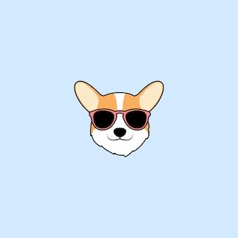 Visage mignon de chien corgi avec caricature de lunettes de soleil