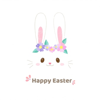 Visage mignon lapin avec fleurs pâques bannière style dessinés à la main.