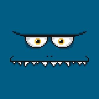 Visage de monstre bleu drôle de dessin animé