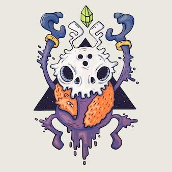Visage de monstre de dessin animé. monstre bleu halloween de vecteur avec un œil