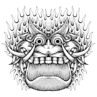 Visage de monstre effrayant, illustration abstraite dessiné à la main, style javanais