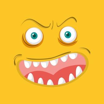 Visage de monstre sur fond orange