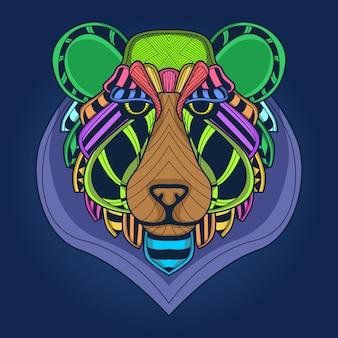 Visage d'ours coloré
