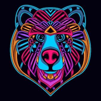 Visage d'ours de couleur néon