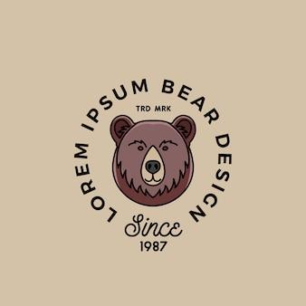 Visage d'ours de dessin animé de style de ligne avec abstrait de typographie rétro