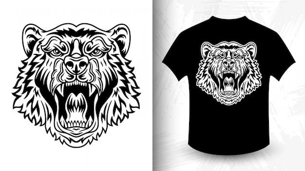 Visage d'ours, idée de t-shirt de style monochrome