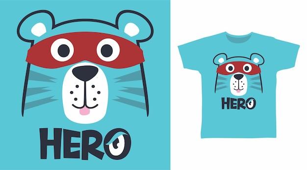 Visage d'ours mignon de héros pour la conception de tee-shirt