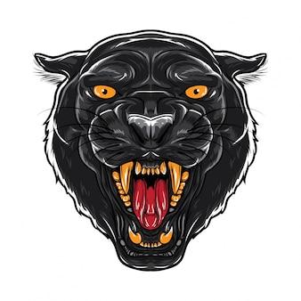 Visage de la panthère noire en colère