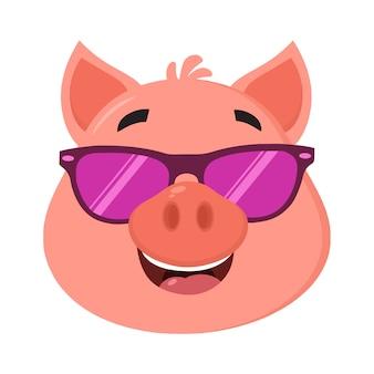 Visage de personnage de dessin animé de cochon avec lunettes de soleil
