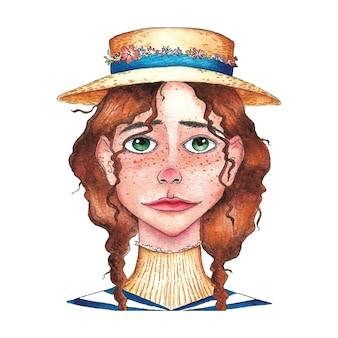 Visage de petite fille avec aquarelle de caractère chapeau de paille