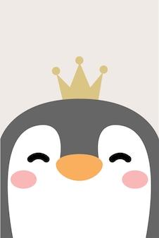 Visage de pingouin drôle avec couronne