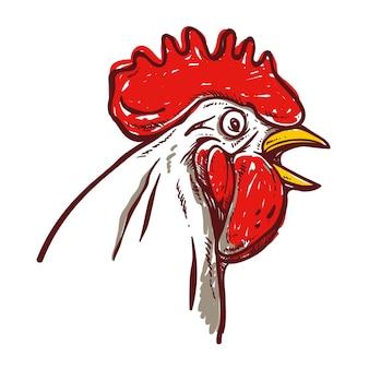 Visage de poulet dessiné à la main