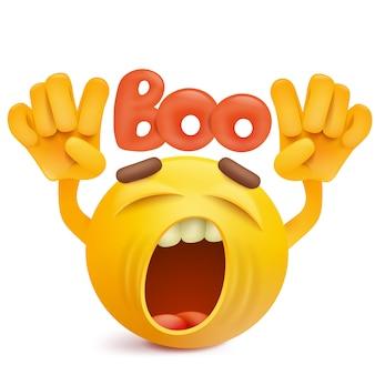 Visage rond souriant emoji faisant un geste boo.