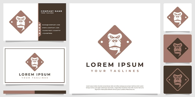 Visage de singe avec un logo de tasse de café