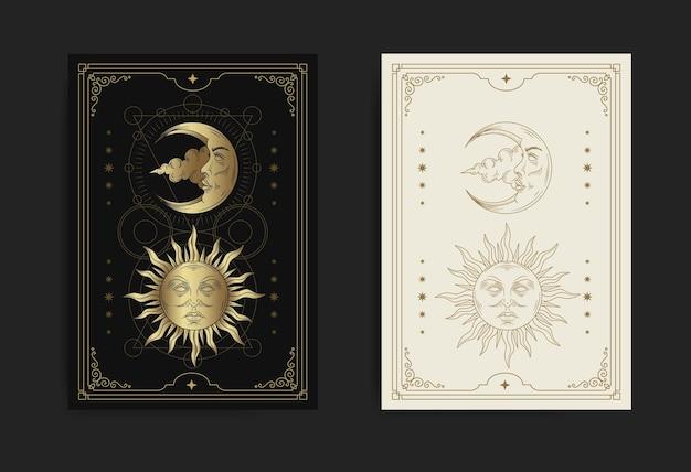 Visage de soleil et de lune décoré de la géométrie sacrée et des étoiles