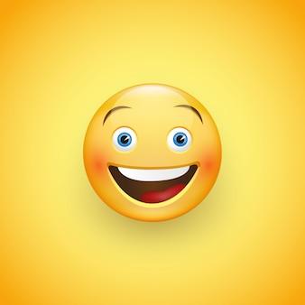 Visage souriant aux yeux bleus. expression de joie, rire.