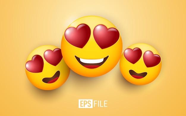 Visage souriant d'emoji 3d avec des yeux de coeur sur le jaune