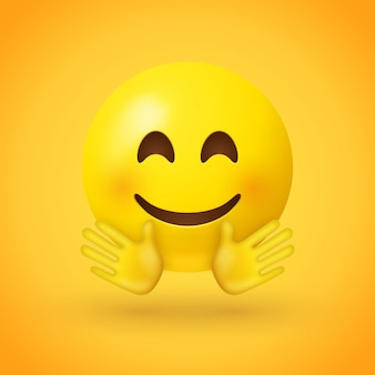 Un visage souriant emoji aux joues roses et aux mains ouvertes