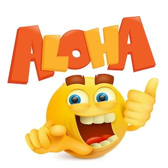Visage souriant rond jaune avec titre aloha.