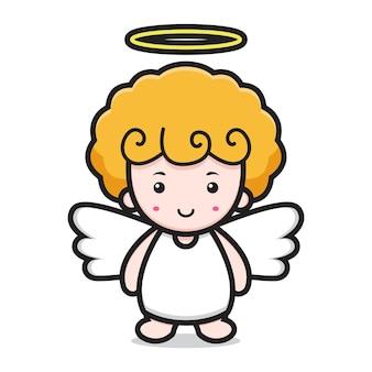 Visage de sourire de personnage de dessin animé mignon ange