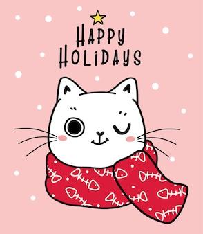 Visage de tête de chat chaton espiègle mignon avec dessin animé écharpe d'hiver dessiné à la main joyeuses fêtes