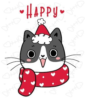 Visage de tête de chat tigré chaton espiègle mignon avec dessin animé écharpe d'hiver dessiné à la main joyeuses fêtes