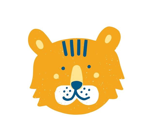 Visage ou tête de tigre drôle mignon. museau de dessin animé adorable d'animal exotique ou de prédateur isolé sur fond blanc. illustration vectorielle enfantine dans un style plat pour un t-shirt ou un sweat-shirt pour bébé.