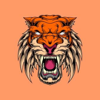 Visage de tigre en colère
