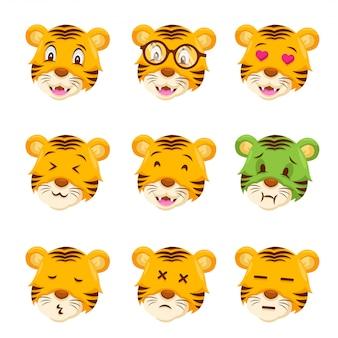 Visage de tigre mignon emoticon emoji illustration de l'expression