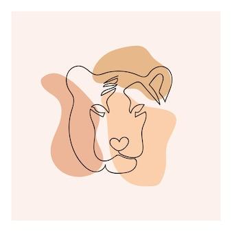 Visage de tigre symbole d'une ligne de l'année 2022 dessin au trait simple image moderne et esthétique