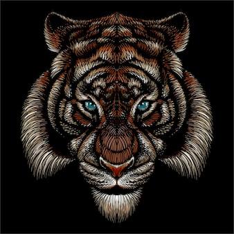 Visage De Tigre Vecteur Premium