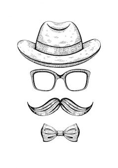 Visage vintage gentleman gravé avec moustaches et chapeau fedora.