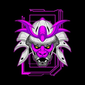 Visage violet mecha samurai