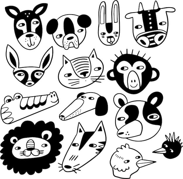 Visages d'animaux doodle tirage à la main