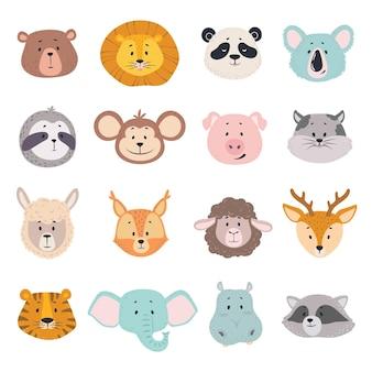 Visages d'animaux mignon doodle tête d'ours lion panda singe cochon tigre éléphant chat cerf géant