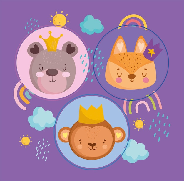 Visages d'animaux mignons avec des couronnes arc-en-ciel nuages et illustration vectorielle de soleil dessin animé