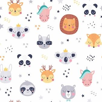 Visages d'animaux mignons de dessin animé. modèle d'animaux mignons boho.
