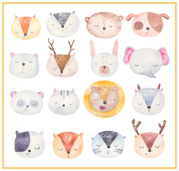 Visages d'animaux mignons, grand ensemble d'illustrations à l'aquarelle, conception pour enfants