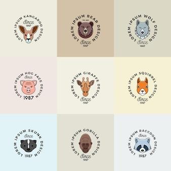 Visages d'animaux de style de ligne sertis de symboles de signes vectoriels abstraits de typographie rétro ou de modèles de logo c...