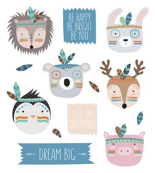 Visages d'animaux tribaux indiens vectoriels avec slogan de motivation doodle illustration journée de l'amitié
