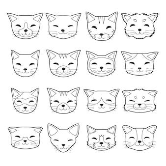 Visages de chat de type différent de dessin animé de vecteur