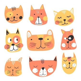 Visages de chats mignons dessinés à la main
