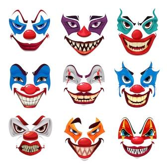 Visages de clown effrayants