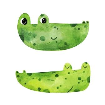 Visages de crocodile aquarelle dessinés à la main mignon