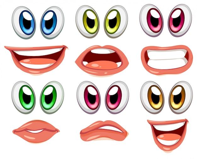 Visages avec différentes couleurs d'yeux