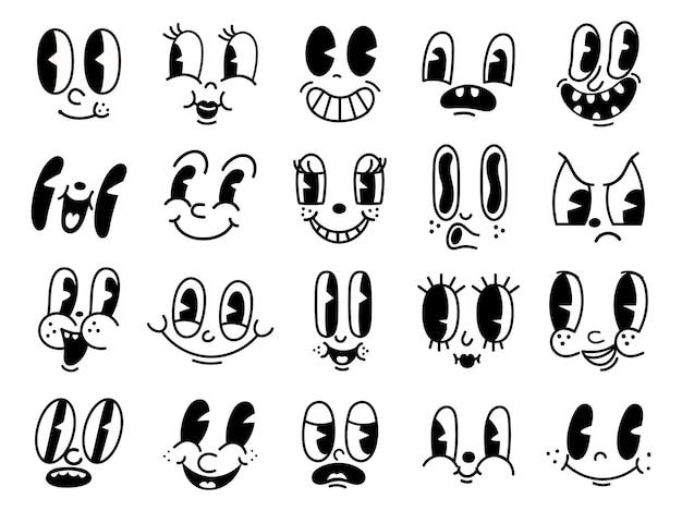 Visages drôles de personnages de mascotte de dessin animé rétro des années 30. éléments d'animation des yeux et de la bouche des années 50, 60. sourire comique vintage pour jeu de vecteurs de logo. caricatures souriantes avec des émotions heureuses et joyeuses