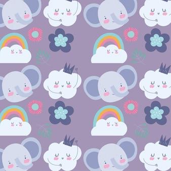 Visages éléphant fleurs arc en ciel nuage dessin animé mignon animaux personnages fond