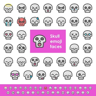 Visages d'emoji de crâne de couleur